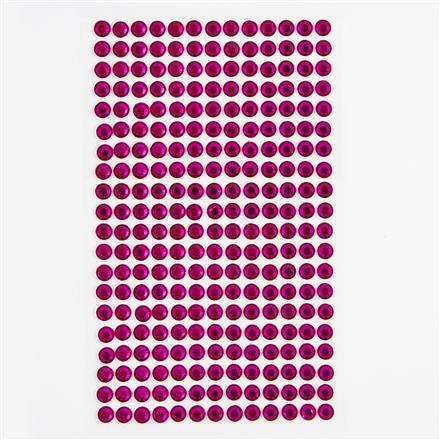 Krystalky samolepicí, 6 mm, 260 kusů - fuchsiové
