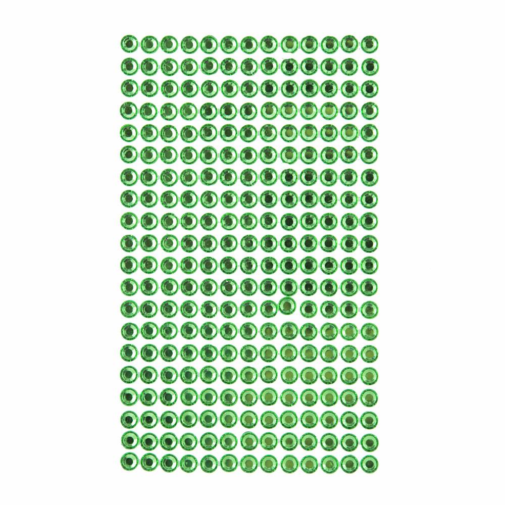 Krystalky samolepicí, 6 mm, 260 kusů - světle zelené