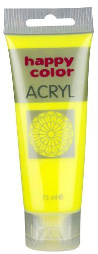 Akrylová barva Happy Color, 75 ml - žlutá, fluo