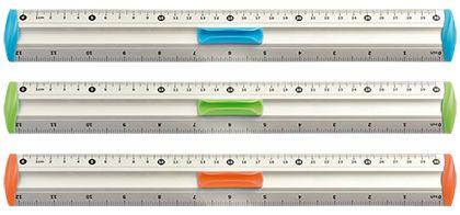 Hliníkové pravítko TETIS 30 cm - zelené