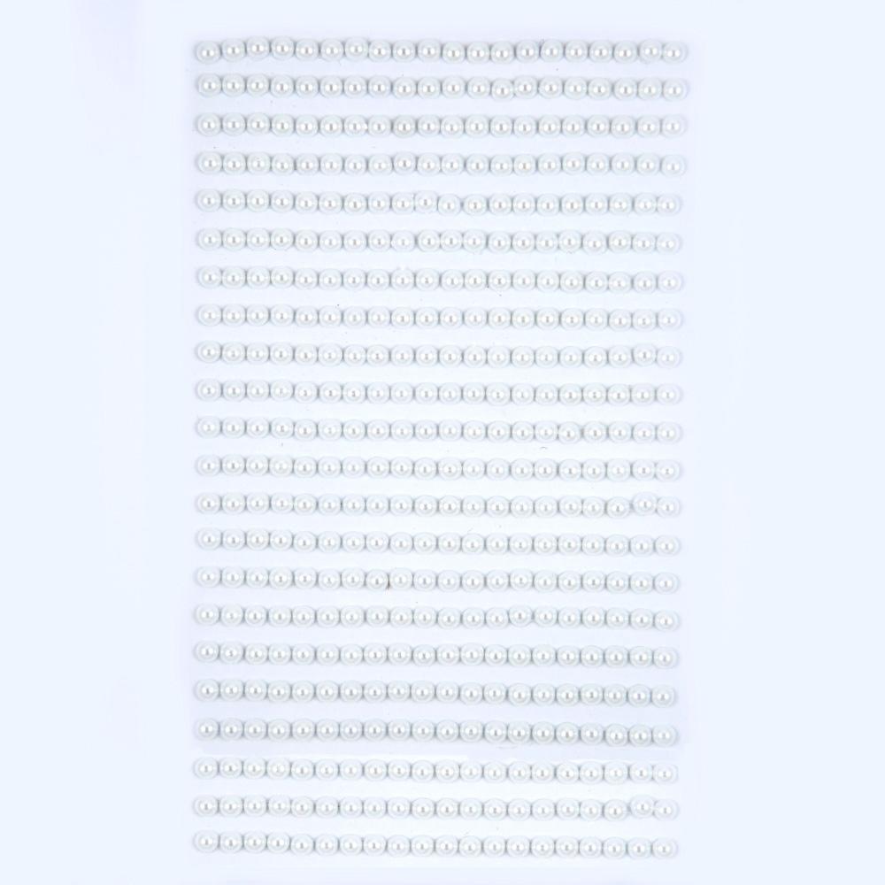 Perličky samolepicí 4 mm, 440 ks - bílé
