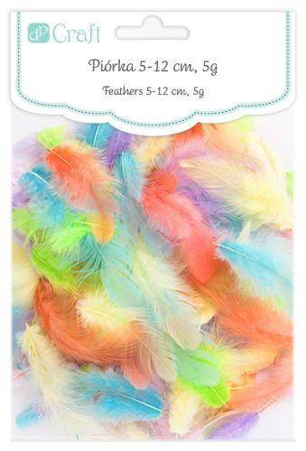 Dekorativní peří  DPCraft 5-12 cm, 5 g - pastelový mix