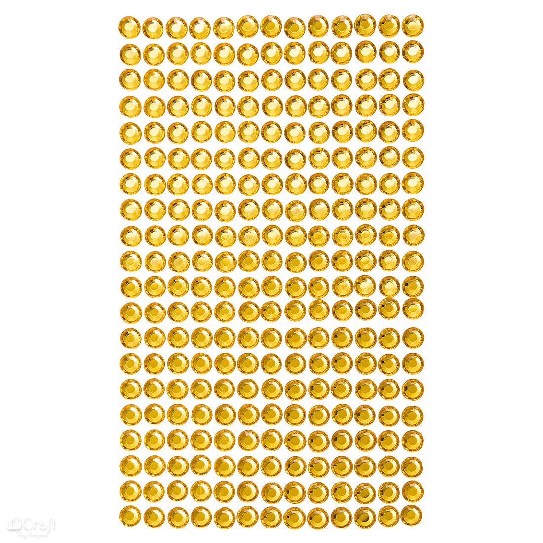 Krystalky samolepicí, 6 mm, 260 kusů - žluté