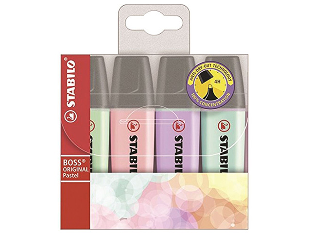 Zvýrazňovač STABILO BOSS pastel - sada 4 barev