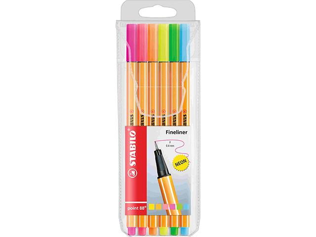 Liner STABILO Point 88 - sada 6 kusů, neon