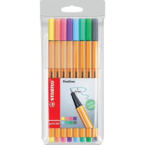 Liner STABILO Point 88 pastelové - sada 8 kusů