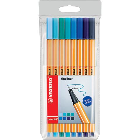 Liner STABILO Point 88 odstíny modré - sada 8 kusů