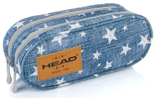 Školní penál modrý s hvězdičkami - etue na 2 zipy