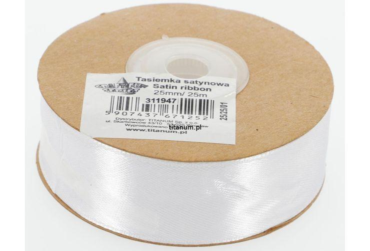 Saténová stuha 25 mm, 25 m, bílá