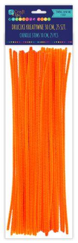 Kreativní chlupaté drátky 30 cm, 25ks - oranžové