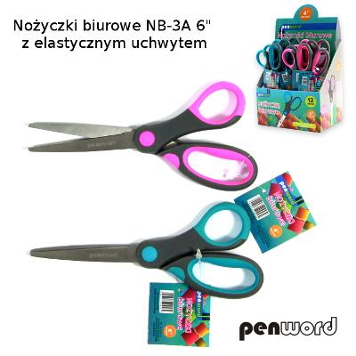 Kancelářské nůžky NB-3B, 17 cm, s měkkou rukojetí
