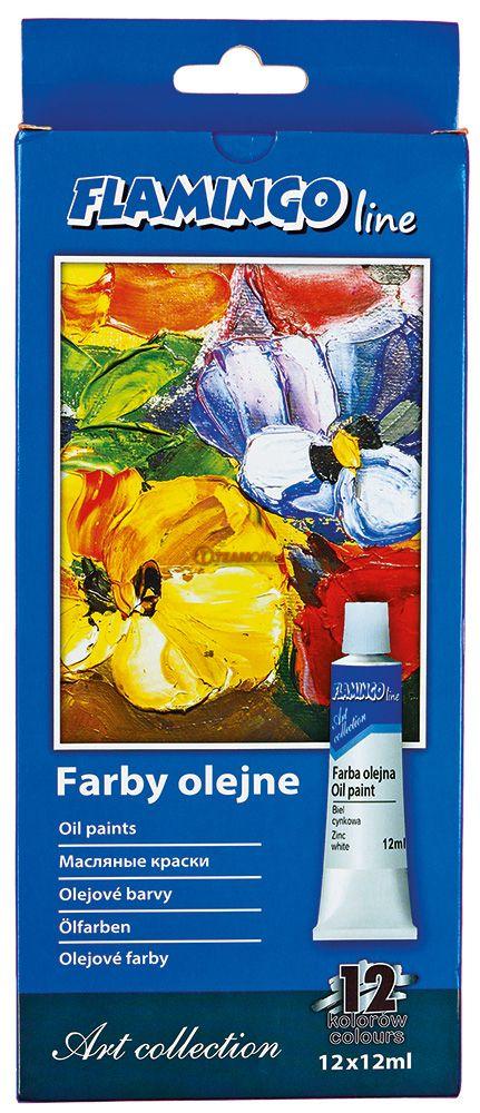 Olejové barvy 12 barev 12 ml FLAMINGO