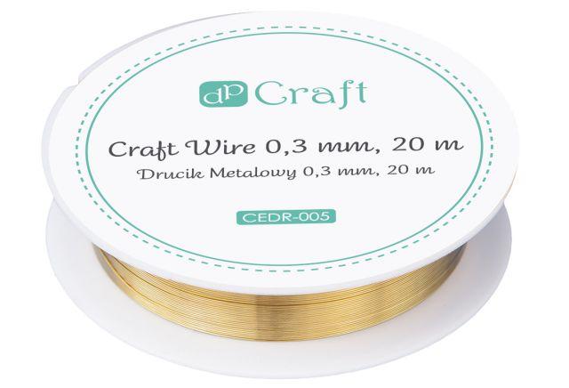 Kovový drátek 0,3 mm, 20 m - zlatý