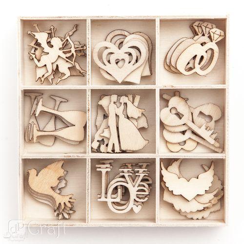 Dřevěné svatební dekorace - 45 kusů