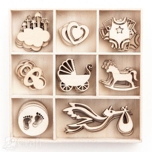 Dřevěné dětské dekorace - 40 kusů