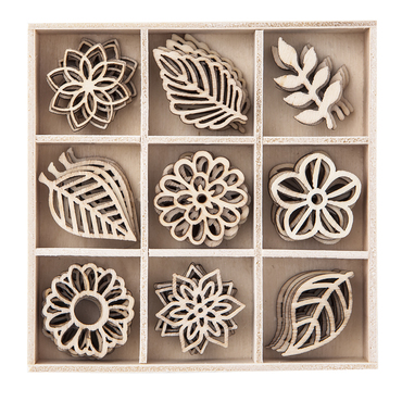 Dřevěné dekorace květy a listy - 45 kusů