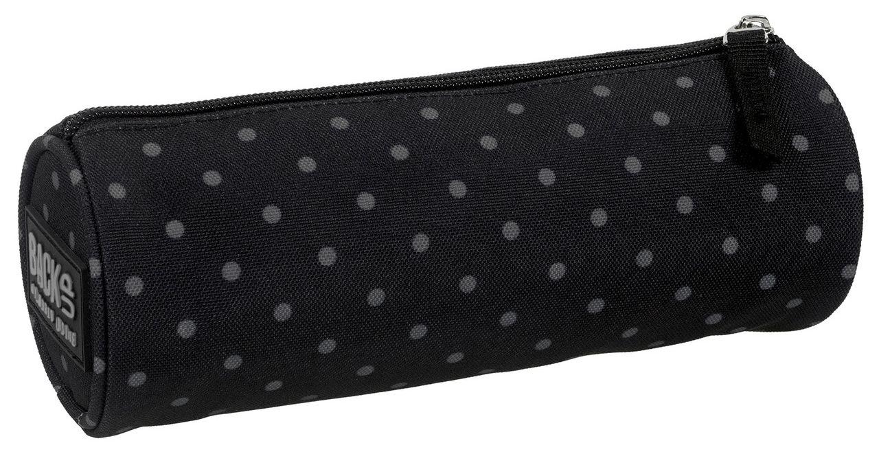 Školní penál kulatý, černý s puntíky - etue na 1 zip