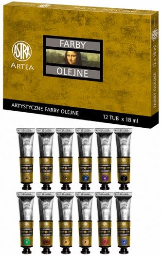 Profi olejové barvy 18 ml ARTEA, II - sada 12 kusů barev