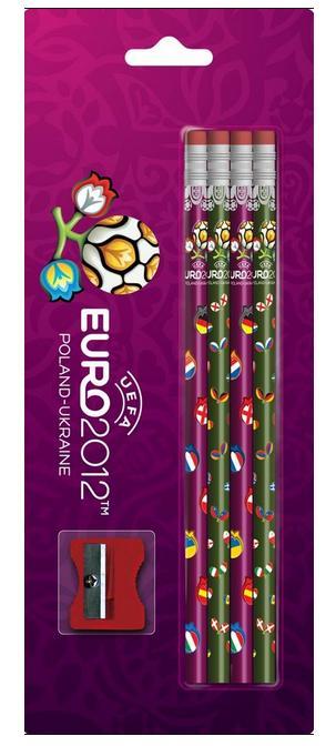 Tužka s gumou č. 2, sada 4 kusů - Euro 2012