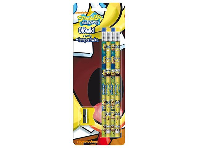 Tužka s gumou č. 2, sada 4 kusů + strouhátko - Sponge Bob