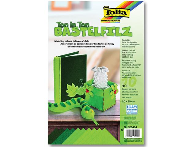 Filc odstíny zelené 20x30 cm - zn. Folia