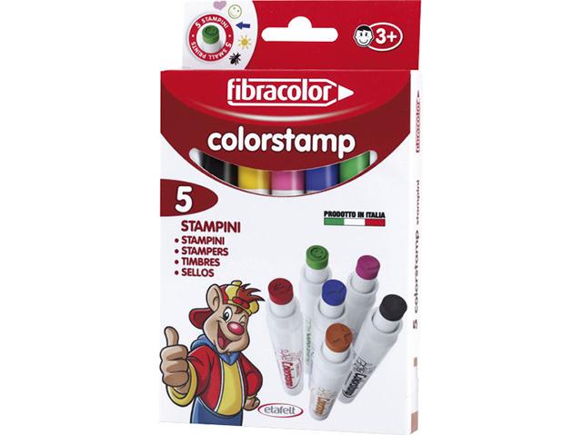 Fixy s razítky Fibracolor Colorstamp - 5 kusů