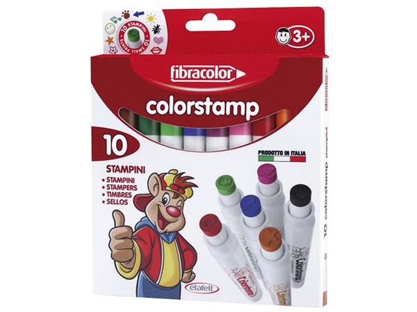 Fixy s razítky Fibracolor Colorstamp - sada 10 kusů