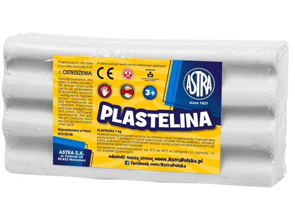 Plastelína ASTRA bílá 1 kg