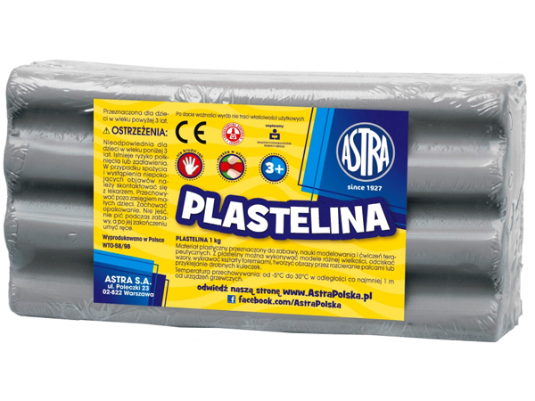 Plastelína ASTRA šedá 1 kg
