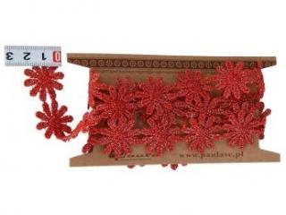 Koronka PAULA 1y 25mm czerwone kwiaty