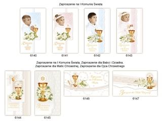 Kartki zaproszenia Komunia Du¿e - kolor Kielichy