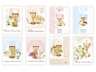 Kartki karnet MER B6 Brokat Kielichy Komunia