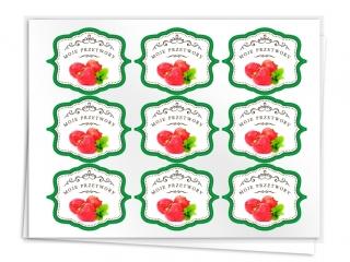 Etykiety na przetwory seria A truskawka
