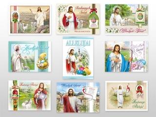 Kartki pocztówki wielkanocne DELTA brokat PBRWL a50