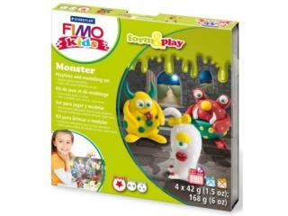 Zestaw FIMO Kids FormxPlay, Potwory, 4 x 42g + akcesoria,