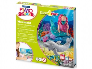 Zestaw FIMO Kids FormxPlay, Syrenka, 4 x 42g + akcesoria,