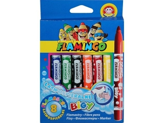 Flamastry 8 kolorów Jumbo FLAMINGO ³atwospieralne