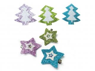 Kolorowe klamerki Chionki/Gwiazdy 6szt