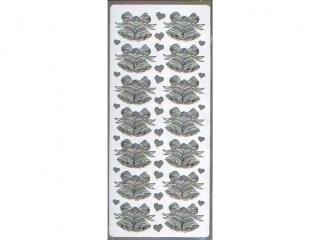 Naklejka ozdobna DZWONKI PODWÓJNE srebrne 1657s