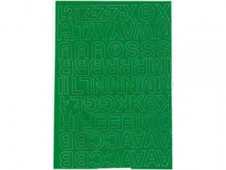 Litery samoprzylepne ART-DRUK  25mm zielone Helvetica 10 ark