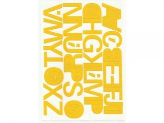 Litery samoprzylepne ART-DRUK  40mm ¿ó³te Helvetica 10 arkus