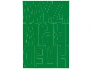Litery samoprzylepne ART-DRUK  80mm zielone Helvetica 10 ark