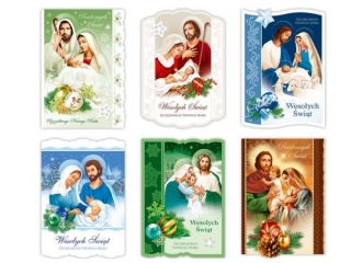 Kartki karnet MERIGRAF ¶wiêta B6 brokat Op³atek religijna