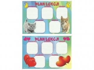 Plan lekcji (naklejka) M serca/kotki