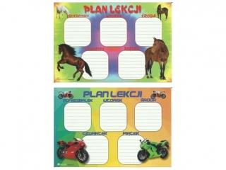 Plan lekcji (naklejka) M motory/konie