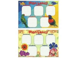 Plan lekcji (naklejka) M kwiaty/papugi/ryby