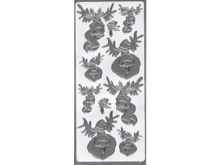Naklejka ozdobna renifer 1928 srebrna