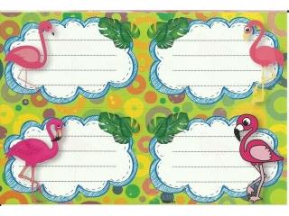 Naklejki na zeszyty POLSYR Ma³e - flamingi 25ark.