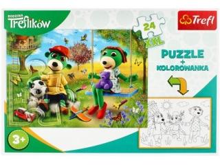 Puzzle   24 TREFL z kolorowank± - Rodzina Treflików
