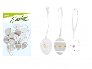 Ozdoba jajka plastik 4cm 12szt mix S190099-GRA